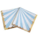 Serviette papier rayures bleu clair bord or x20