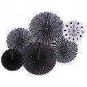 Kit de 6 rosaces papier de couleur noires