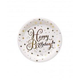 assiette happy birthday doré
