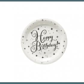 assiette happy birthday argent