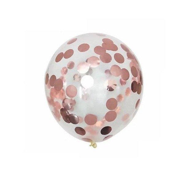 ballons confettis rose gold