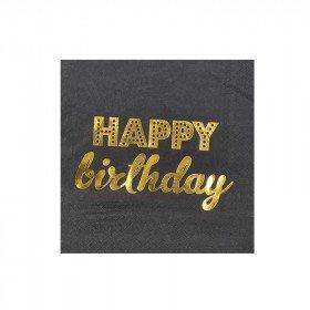 serviette noir happy birthday
